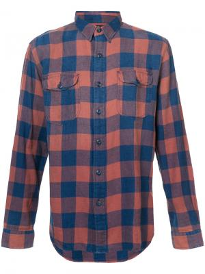 Классическая рубашка в клетку Rrl. Цвет: жёлтый и оранжевый