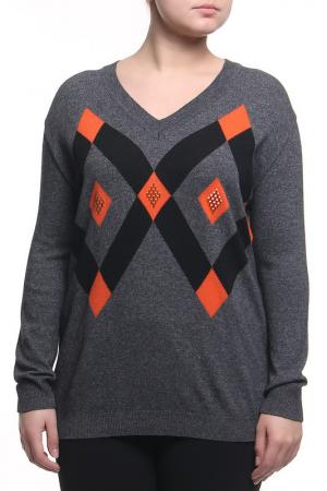 Пуловер CLIPS MORE. Цвет: темно-серый