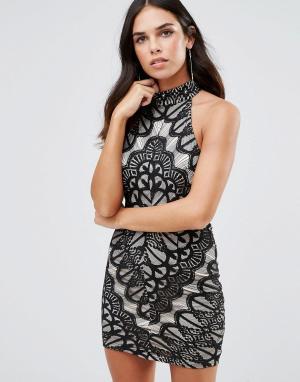Girl In Mind Кружевное платье с высокой горловиной. Цвет: черный