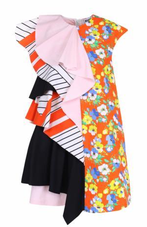 Мини-платье прямого кроя с оборками MSGM. Цвет: оранжевый