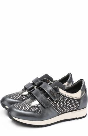 Кожаные кроссовки с замшевой отделкой и стразами на застежках велькро Missouri. Цвет: серый
