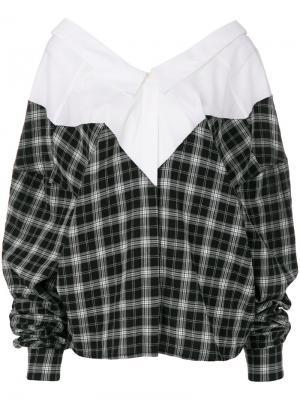 Деконструированная рубашка в клетку Unravel Project. Цвет: белый