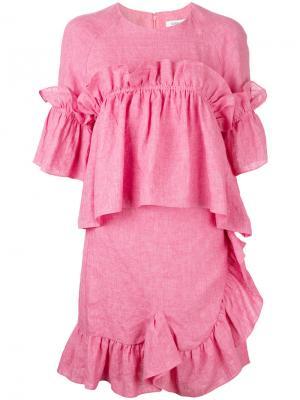 Платье-шифт с оборками Goen.J. Цвет: розовый и фиолетовый