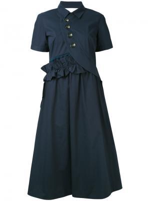 Расклешенное платье Self-Portrait. Цвет: синий