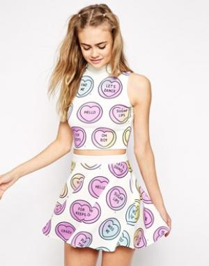 High Neck Cropped Vest With All Over Love Heart Print Co-ord - Белый Ichiban. Цвет: белый