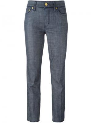 Классические укороченные брюки Tory Burch. Цвет: синий