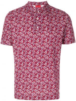Футболка-поло с цветочным принтом Isaia. Цвет: розовый и фиолетовый