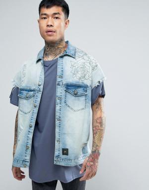 Sixth June Синяя джинсовая куртка с принтом на спине. Цвет: синий