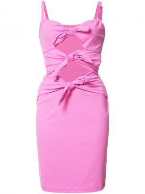 Приталенное пляжное платье с вырезным дизайном Moschino. Цвет: розовый и фиолетовый