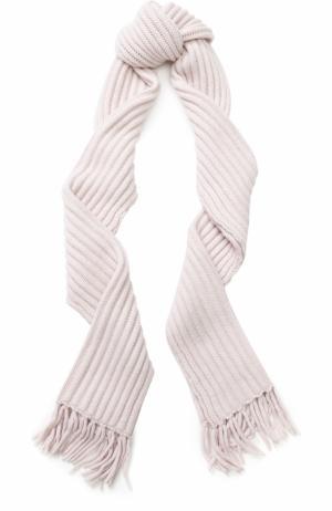 Кашемировый шарф фактурной вязки с бахромой Tegin. Цвет: светло-розовый