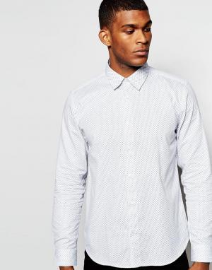 Wincer & Plant Строгая рубашка слим с принтом. Цвет: белый