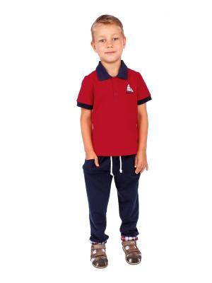 Футболка-поло, брюки, коллекция Морской клуб Апрель. Цвет: красный, темно-синий