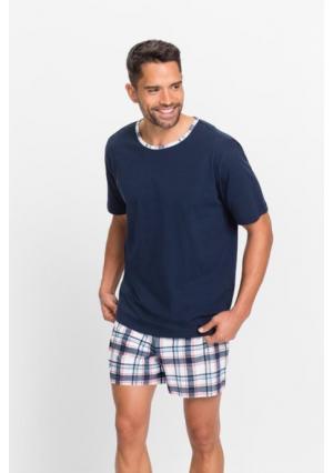 Пижама с шортами. Цвет: темно-синий в клетку