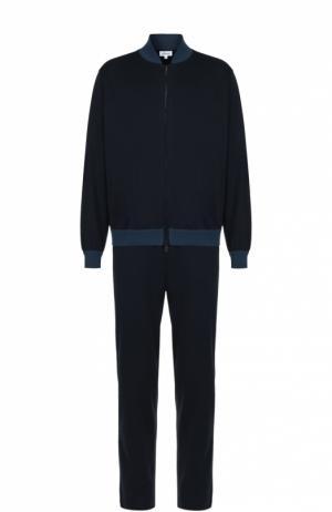 Хлопковый спортивный костюм с контрастными манжетами Brioni. Цвет: темно-синий