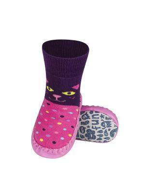 Тапочки-носочки детские SOXO. Цвет: фиолетовый, бледно-розовый, розовый, желтый