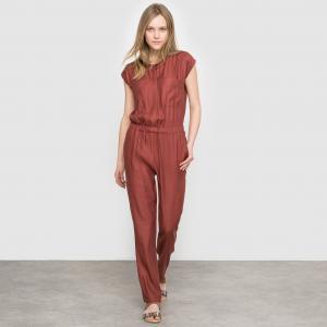 Комбинезон с брюками в стиле сафари La Redoute Collections. Цвет: бежевый экрю,каштановый