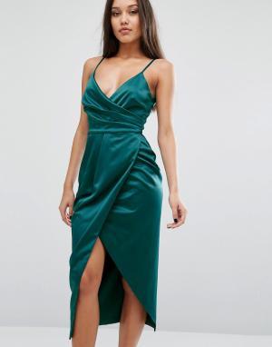 Lavish Alice Атласное платье миди на бретельках. Цвет: зеленый