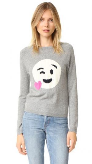 Кашемировый свитер с изображением сердца и смайла Chinti and Parker. Цвет: серый известняк/кремовый