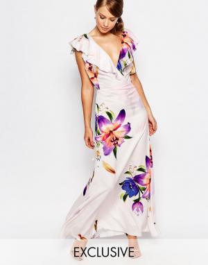 True Violet Платье макси из органзы с оборкой и принтом. Цвет: мульти