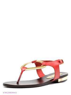Сандалии El Tempo. Цвет: красный, золотистый