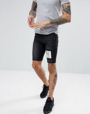 Religion Черные джинсовые шорты скинни. Цвет: черный