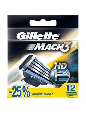 Сменные кассеты Mach3 , 12 шт GILLETTE. Цвет: черный