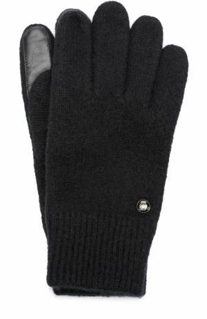 Шерстяные перчатки с кожаной отделкой Roeckl. Цвет: черный