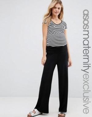ASOS Maternity Домашние брюки с отворотом для беременных. Цвет: черный