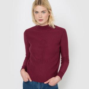 Пуловер с высоким воротником La Redoute Collections. Цвет: бордовый,слоновая кость