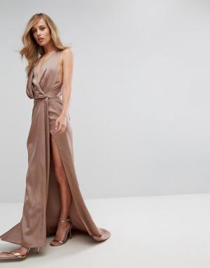 Fame and Partners Платье макси с запахом. Цвет: коричневый