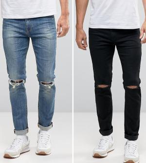 ASOS Набор из 2 джинсов скинни с рваной отделкой (черные и синие). Цвет: мульти