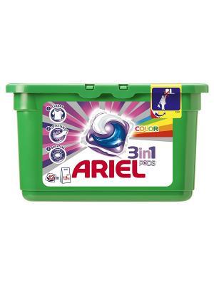 Гель в растворимых капсулах Liquid Capsules Color 12X28.8г Ariel. Цвет: зеленый