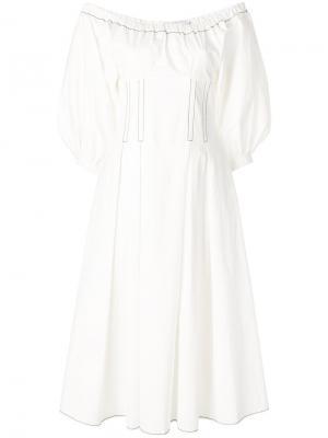 Структурированное платье с открытыми плечами Rejina Pyo. Цвет: белый