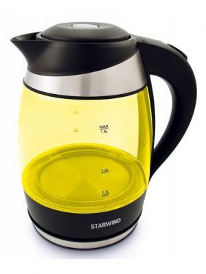 Чайник электрический STARWIND SKG2215, 2200Вт, желтый и черный. Цвет: черный