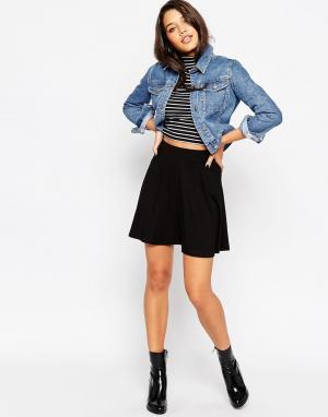 ASOS Короткая расклешенная юбка с карманами. Цвет: черный