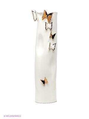 Ваза Бабочки Pavone. Цвет: белый, золотистый