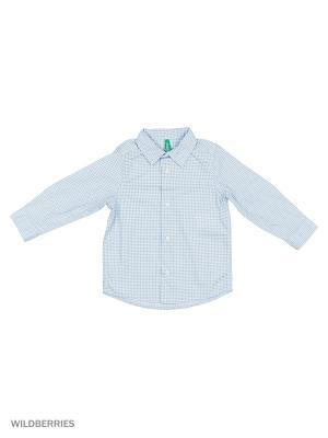 Рубашка United Colors of Benetton. Цвет: светло-серый, серебристый, сиреневый