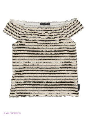 Блузка Sisley Young. Цвет: кремовый, черный, серо-зеленый