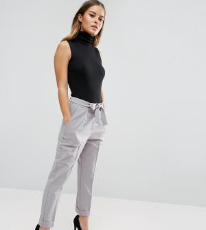 ASOS Petite Тканые брюки-галифе с поясом оби. Цвет: серый