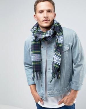 Glen Lossie Зеленый шарф из овечьей шерсти в клетку. Цвет: зеленый