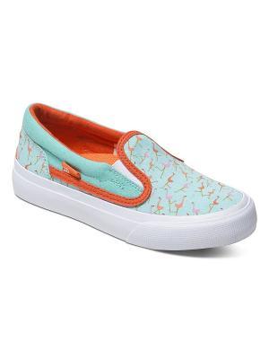 Слипоны DC Shoes. Цвет: белый, голубой, оранжевый, розовый