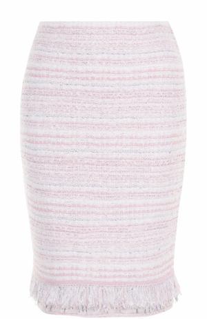 Буклированная мини-юбка с бахромой St. John. Цвет: светло-розовый