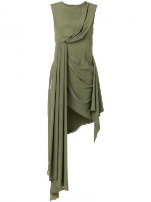 Асимметричное платье Off-White. Цвет: зелёный