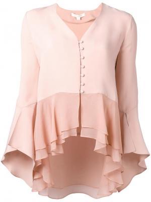 Блузка с V-образным вырезом Jonathan Simkhai. Цвет: розовый и фиолетовый