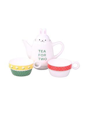 Набор: чайник, чашка 2 шт., 500 мл. 8,5*22 см. PATRICIA. Цвет: белый, зеленый