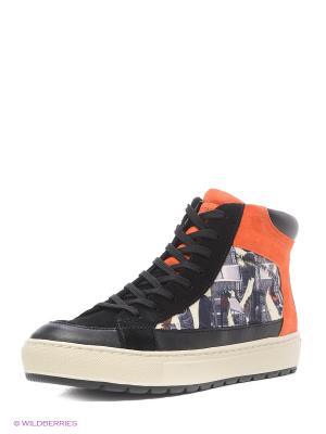 Кроссовки GEOX. Цвет: серый, оранжевый