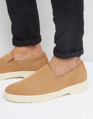 Dr Martens Замшевые туфли-слипоны с перфорацией Plano. Цвет: рыжий