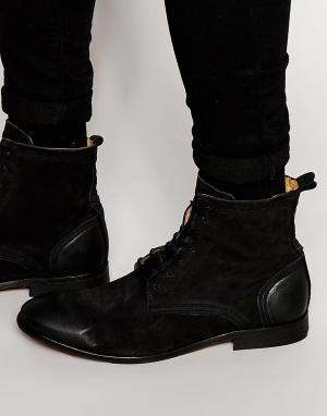Hudson London Ботинки из нубука на шнуровке Swathmore. Цвет: черный