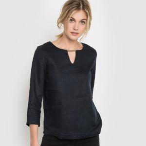 Блузка прямого покроя с рукавами 3/4, 100% льна R essentiel. Цвет: черный