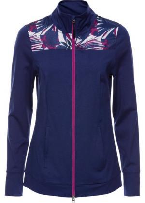 Легкая спортивная куртка с контрастными вставками (темно-синий меланж) bonprix. Цвет: темно-синий меланж